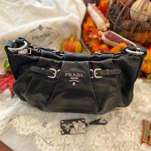 Prada pleated leather hobo bag